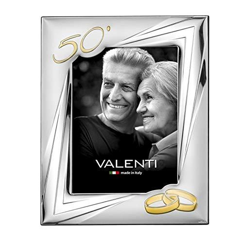 Valenti&Co - Cornice Portafoto in Argento cm 13x18. Ideale Come Regalo per Nozze d'oro - 50 Anni di Matrimonio o per Il Cinquantesimo di parenti, Nonni o Mamma e papà.