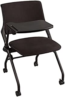 Learniture Upholstered Tablet Arm Nesting Chair, Black, NOR-SYS3030-SO