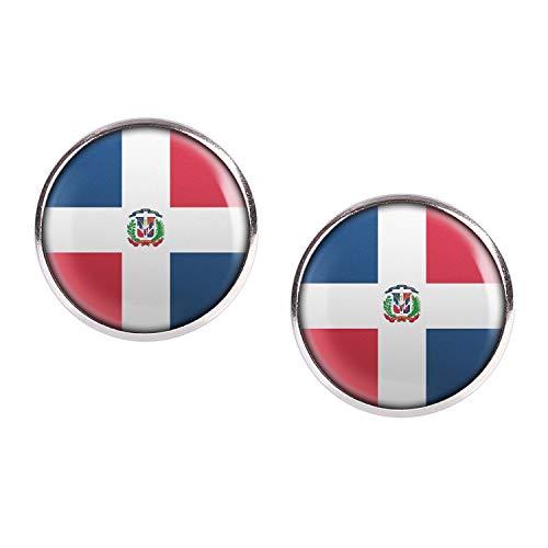 Mylery Ohrstecker Paar mit Motiv Dominikanische Republik Dominican Republic Santo Domingo Flagge silber 16mm
