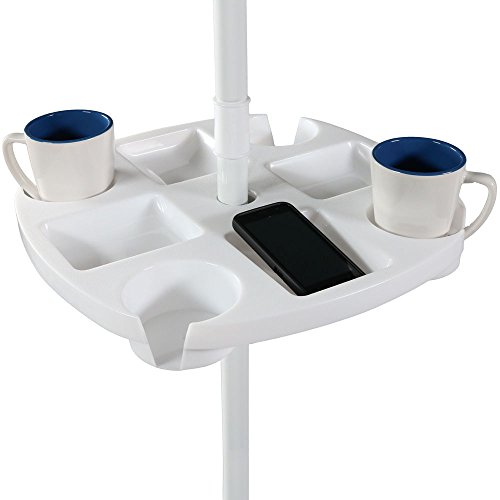 Sunnydaze Outdoor Beach Umbrella Table, 4 Drink Holders and Tray Slots - for Beach and Patio Umbrellas