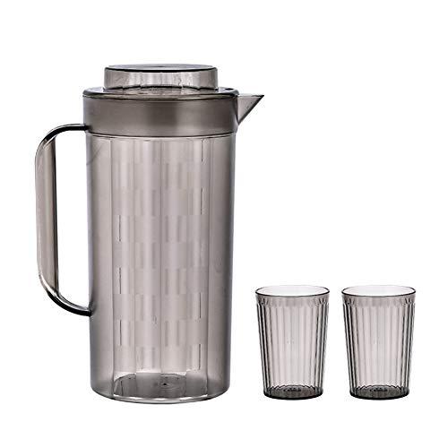 Hervidor Reutilizable con Tapa, Material PS Grueso, Gran Capacidad para El Hogar (2000 Ml), Botella De Agua para Mesa De Centro Fácil De Limpiar (1 Hervidor + 2 Tazas De Agua)