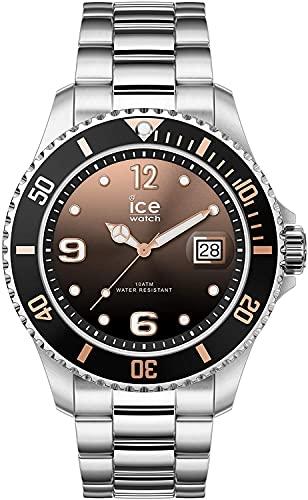 ICE-WATCH Ice Steel Black Sunset Silver - Reloj Plateado para Mujer con Correa de Metal, 016768 (Medium)