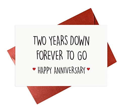 2nd Year Wedding Anniversary Card,Happy Anniversary Cards For Him or Her