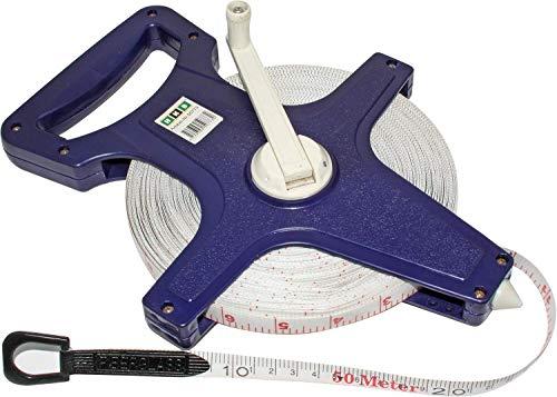 HKB ® 1 Stück Maßband, 50 Meter Bandmaß mit Fiberglasband, Kunststoff blau mit ergonomischem Handgriff, ausklappbare Kurbel, 2 Skalen: Meter und Feet, Hersteller HKB, Artikel-Nr. 50773