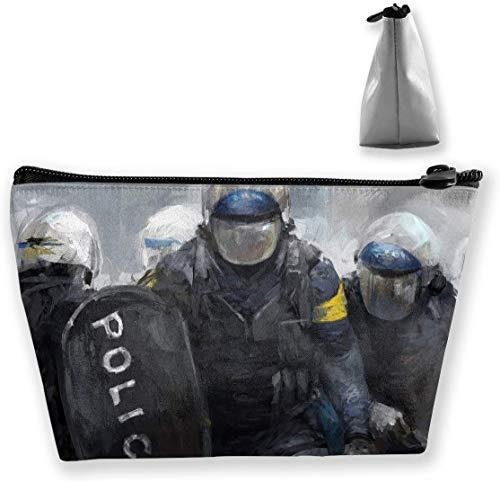 Make-up-Tasche Trapezförmiger Aufbewahrungsbeutel Police Abstract Shield Kosmetische Multifunktions-Make-up-Etuis Reise-Kulturbeutel