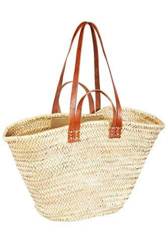 ORIGINAL Ibiza Tasche Korbtasche Strandtasche Palmera 55cm groß | Marokkanische Palmblatt Einkaufskorb Einkaufstasche geflochten XXL | Natur Shopper Umhängetasche Strohtasche für Damen und Herren
