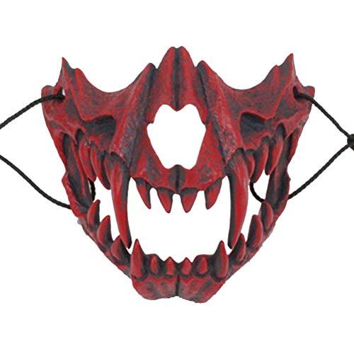 Koowaa Halloween Cosplay Kunstharz Maske Japanischer Drache Gott Maske Tier Skelett Halbmaske Cosplay Kostüm Requisite Kostüm Zubehör