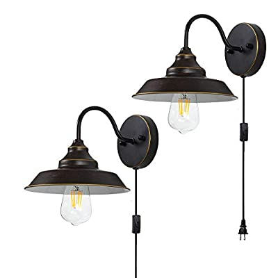 Wall Lamp Industrial Vintage Wall Sconce 2- Pack Farmhouse Gooseneck Light Fixture with Plug in Cord and On Off Toggle Switch for Bedroom Nightstand, Barn ,Warehouse,Pathway, Foyer and Bathroom