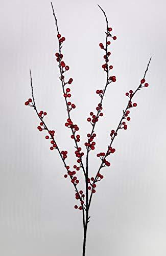 Seidenblumen Roß Beerenzweig 95cm rot DP Kunstzweig künstlicher Zweig Beeren Kunstpflanzen