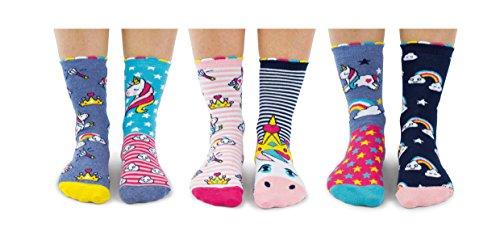 Unicorn Daze – Calcetines para niñas, Caja 6 United, multicolor (talla 30,5 - 38,5)