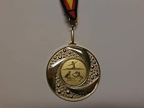 10 x Medaillen - aus Metall 50mm - mit Einem Emblem - Turnen - Bodenturnen - inkl. Medaillen-Band - Farbe: Gold - Kinder - Damen - Emblem 25mm - (e219) -