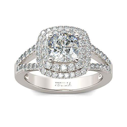 Jeulia Brilliant Diamond Band Rings for Women Halo Split Shank Cushion Cut 925 Sterling Silver Ring Wedding Engagement Anniversary Promise Ring Bridal Sets (9.0(U.S))…
