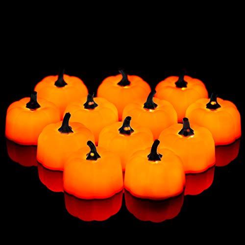 12Pcs Tealights de calabaza naranja, luces de té LED, Calaveras de Halloween con batería Tealights, Luz de Calabaza de Decoración, Fiestas, Navidad, Festivales, Fulighture Velas LED, Blancas Cálidas