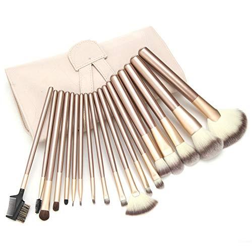 Pinceaux Maquillage Set Maquillage professionnel beige en bois, 18 pièces