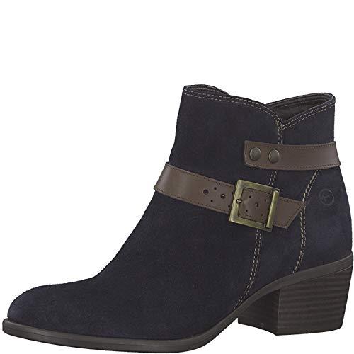 Tamaris Damen Stiefeletten 75910-23, Frauen Stiefelette, feminin elegant Women's Woman Freizeit leger Stiefel Boot Damen,Navy/Espresso,38 EU / 5 UK