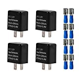 Gebildet 4pcs 12V 2 Pin Relé Intermitente Ajustable para Señales de Giro LED, Interruptor Intermitente, para el Indicador de Señal Luz Intermitente (Negro)+8pcs terminales de conexión(Azul)
