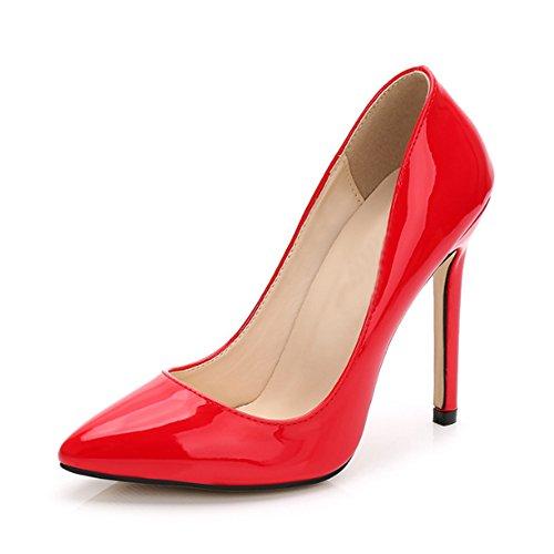 Ochenta Damen Pumps, sexy, High Heels, Pfennigabsatz, aus PU-Leder, für Club, Party, Rot - rot - Größe: Asiatique 40 - EU 39