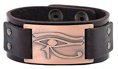 AMOZ Vintage Egipcio el Ojo de Horus Conector Artesanal de Metal Brazalete de Cuero Pulsera Hombres Joyería Pulsera Marrón Latón Antiguo,Pulsera Marrón Re Antiguo
