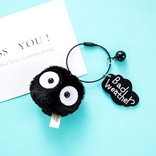Llavero con forma de bola para coche, diseño de cuerda, color negro, con colgante de auriculares Kawaii, un par de simple pareja de muñeca para teléfono o niña, juguete de regalo (color : B)