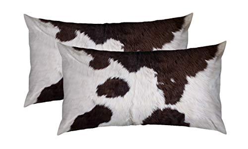 Set mit 2 dekorativen Kissenbezügen für Couch, Innen, Bett, 30,5 x 50,8 cm, Kuhhaut, abstraktes Afrika-Tier, schwarzer Stoff, Bauernhof, modisch, Heim-Sofa-Kissenbezug, Kissenbezug, Geschenk