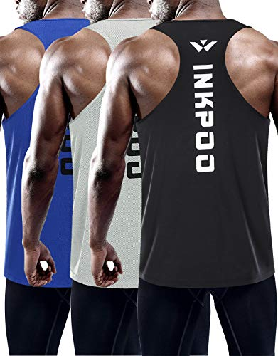 Inkpoo Men's 3 Pack Dry Fit Y-Back Muscle Workout Tank Top Sleeveless Gym Bodybuilding Training Athletic Workout Cool Shirts heihuilan S