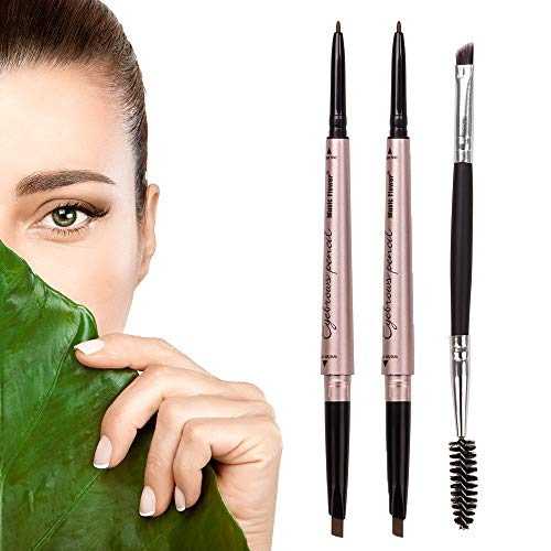[ 2 Pack]Eyebrow Pencil, Waterproof Eyebrow Makeup with Dual Ends, Professional Brow Enhancing Kit with Eyebrow Brush (Dark Brown #1)