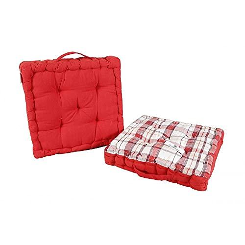 Novohogar Cojín Rayas- Liso para Silla Tanto Exterior como Interior. Asa. Medidas: 40x40cm (Rojo)