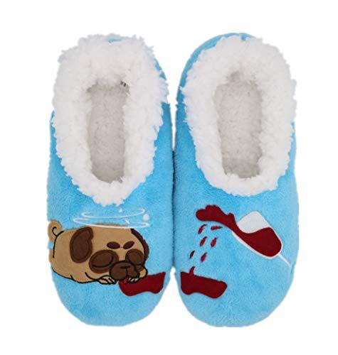 SUSTYLE Fuzzy Slipper für Frauen Bequeme Hausschuhe Haussocken-süßer Hund (Mittel , Blau, Mittel )