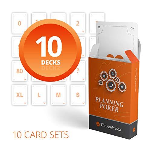 Kartensatz von Planung Poker Karten für 10 Spieler – 10 Kartenstapeln bestehend aus Story Points und T-Shirt Größen