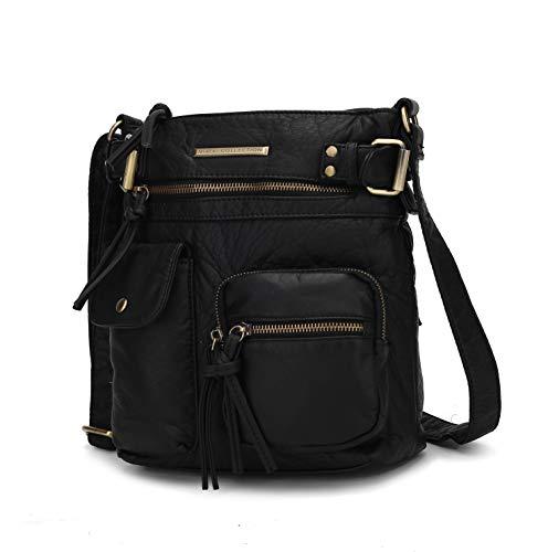 MKF Crossbody Bag for Women: PU Leather Tote Shoulder Bag, Soft Slouchy Handbag Purse, Lady Multi Pocket Pocketbook Black