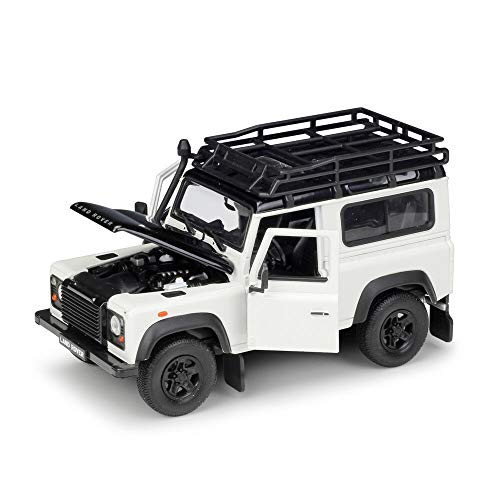 Land Rover Defender with Roof Rack White and Black 1/24-1/27 Diecast Model Car by Welly 22498