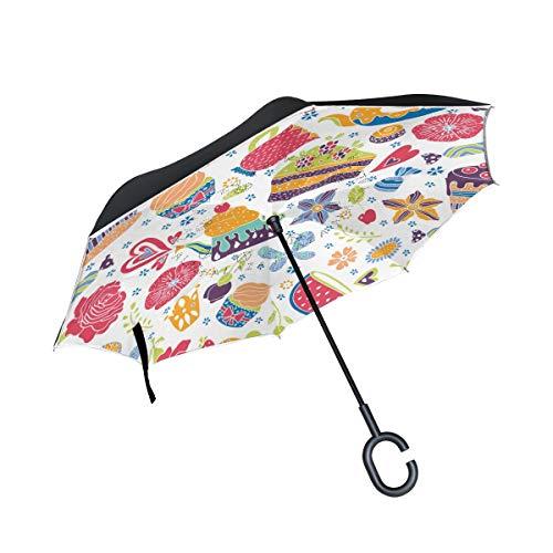 Jeansame Paraplu Reverse Paraplu's Omgekeerde Paraplu Leuke Kleurrijke Taarten Theepot Koffie Ijs Dubbele Laag Zon Regen Winddichte Paraplu met C Vormige Handvat voor Auto Gebruik Mannen Vrouwen