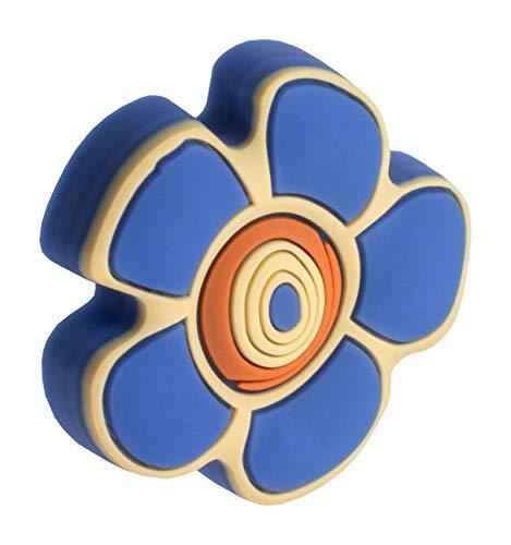 Gedotec Gummigriff Kinder-Möbelknopf Motiv Möbelgriff für Schubladen im Kinderzimmer & Möbel - Blume blau | Gummi Speichelecht | Schubladen-Knopf elastisch | 1 Stück - Kinder-Griff für Schrank-Türen