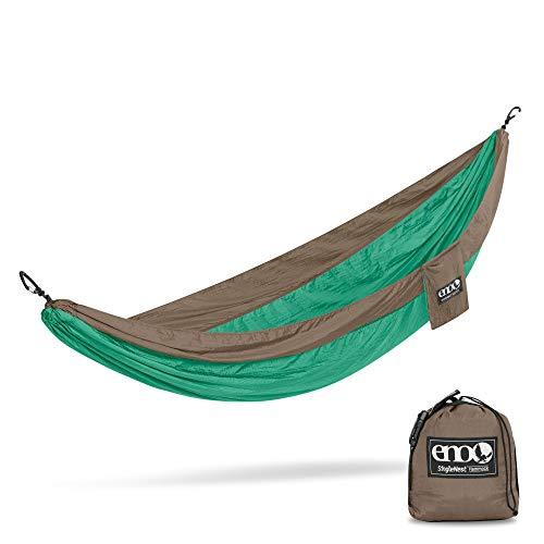 ENO, Eagles Nest Outfitters SingleNest Lightweight Camping Hammock, Emerald/Khaki