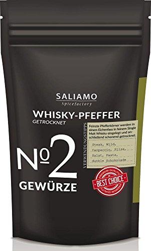 Whiskypfeffer, schwarzer Pfeffer in Whisky eingelegt und getrocknet, intensives Aroma, angenehme schärfe, ausergewöhnlicher Pfeffer Geschmack, 50 g | Saliamo