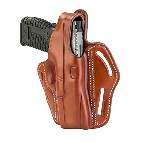 1791 GUNLEATHER XDS Thumb Break Holster - Right Handed OWB Leather Gun Holster - Fits Glock 17, 19, 22, 23, 32 Sig Sauer P225, P228, P229, SW MP Shield MP9 MP40, FNS-9, CZ P08 (BHX-3) (Classic Brown)