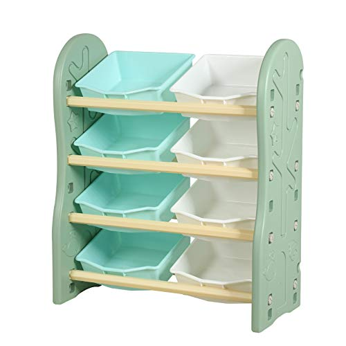 Uenjoy Kids Toy Storage Rack with 8 Large Storage Drawers,Suitable for Boys Girls' Bedroom, Living Room, and Kindergarten, 4 Combinations, Safe Material-Green