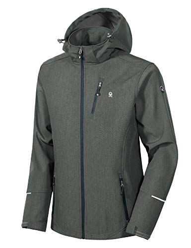 Little Donkey Andy Men's Softshell Jacket Ski Jacket with Removable Hood, Fleece Lined and Water Repellent Gray Size L