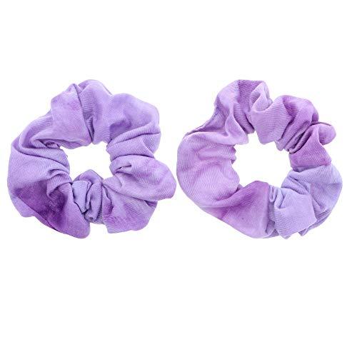 Rainbow Multi-Color Hair Tie Scrunchies - Set of 2 Lavender