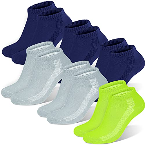 Sneaker Socken Herren Damen, 6 paar Unisex socks Sportsocken Laufsocken Baumwollsocken, Dunkelgrau×3+leuchtendes Grün×1+hellgrau×2, S