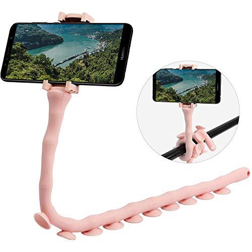 CLM-Tech Halterung für Handys, 360° Einstellbarer Smartphone-Halter universal für Oberflächen wie Wände und Tische, Fahrräder Autos und mehr, rosa