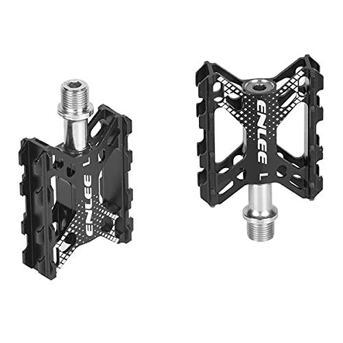 d'Stil Pedali da Ciclismo BMX in Alluminio Ultra Leggeri e Antiscivolo 9/16' Sealed Cuscinetto,Robusti e Durevoli Flat Universali Pedali per Bici MTB/BMX (Nero, Universale)