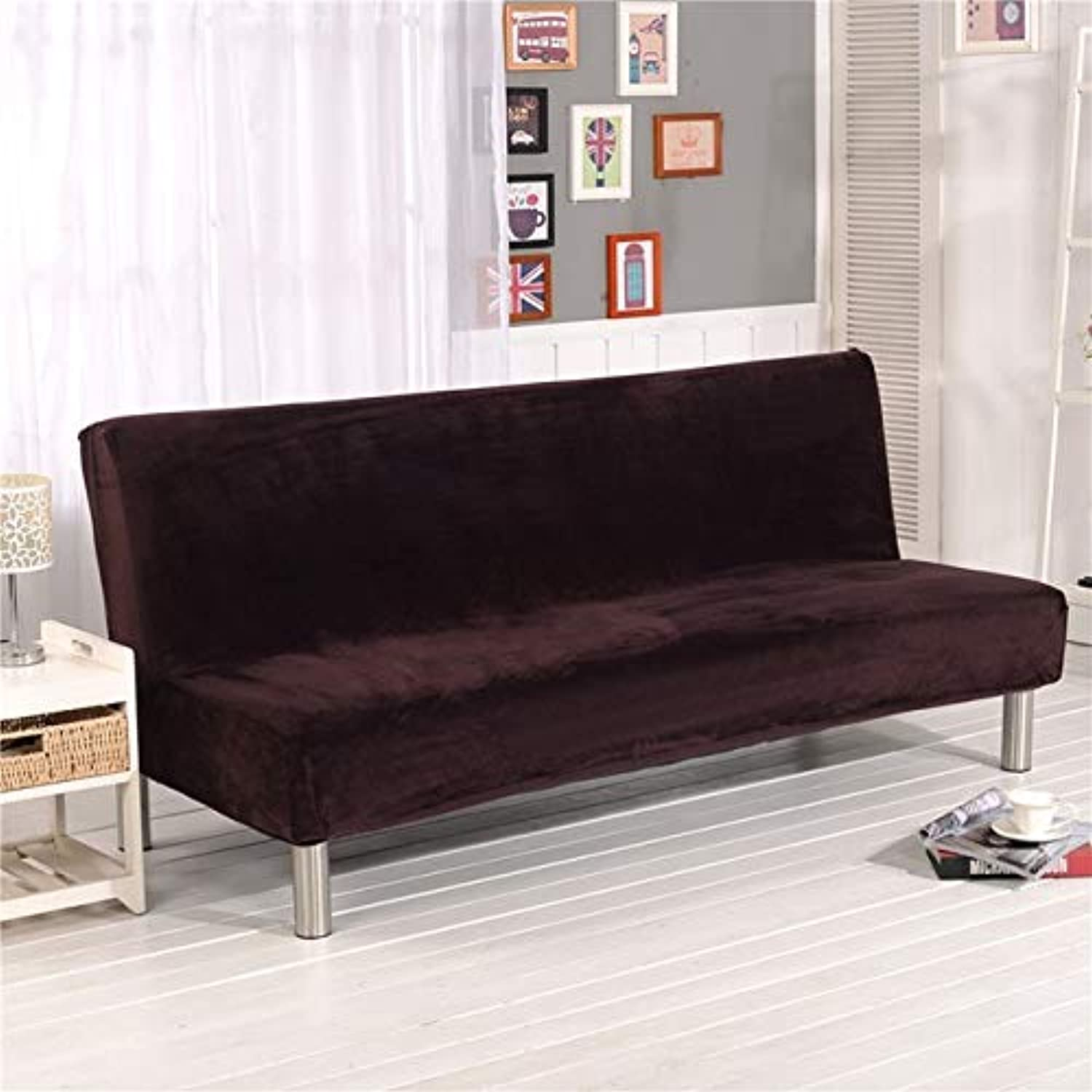 Farmerly 1PC Plush Sofa Cover Wrap All-Inclusive Slip-Resistant Elastic Stretch Furniture Slipcovers No Armrest Folding Sofa Bed Cover   color 1, S160 to 180cm