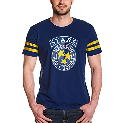 Resident Evil 3 - S.T.A.R.S. Hombre Camiseta Azul/Amarillo L, 60% algodón, 40% poliéster, Regular