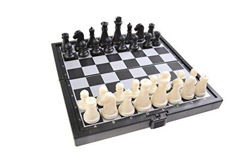 Quantum Abacus Magnetisches Brettspiel (Super Mini Reise-Edition): Schach - magnetische Spielsteine, Spielbrett zusammenklappbar, 12,8cm x 12,8cm x 1cm, Mod. SC3656-B (DE)