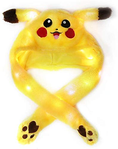 CHENGL Divertido Animales de Peluche Sombrero del oído del Juguete Pikachu con Orejas movibles Traje de Cosplay Pueden los Airbag Tapa del imán Peluches Regalos de la Danza iluminados