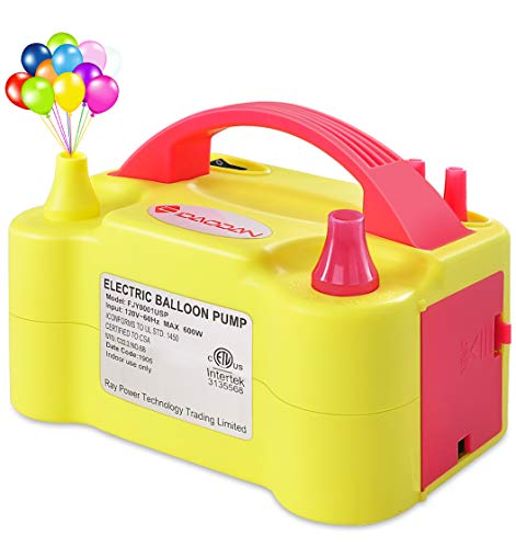 IDAODAN Electric Air Balloon Pump, Portable Dual Nozzle Electric Balloon Inflator/Blower for Party Decoration - 110V 600W (Yellow)