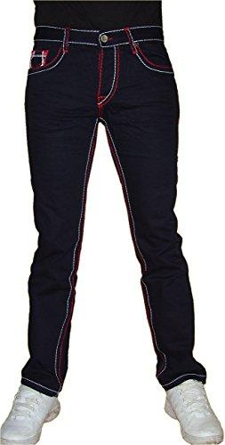 Jeel Herren Denim Jeans Hose, auffällige Nähte, 939, Navy, W31