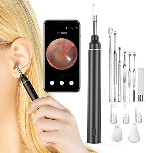 VITCOCO Otoskop 3.0mm Durchmesser Ultra Dünn Ohr Endoskop 5 Millionen Pixel HD WIFI Ohren Reinigung Endoskopkamera mit Ohrenschmalz entferner und 6 LED-Leuchten für iPhone/iPad, iOS, Android