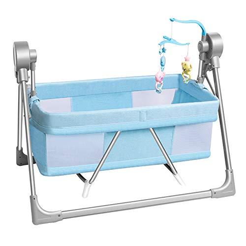 LLZH Hamaca de Bebé, Columpio Plegable Compacto de 5 velocidades con Control Remoto y Música Relajante,Azul,A